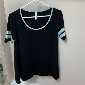 Black tunic with mint green stripes